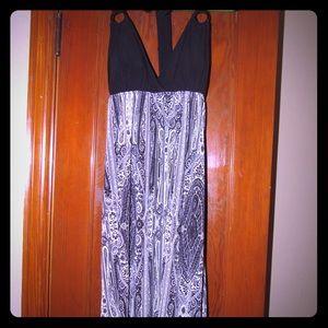 Dots halter maxi dress, small
